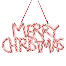 RAZ Candy Cane Striped Merry Christmas Ornament #3815531