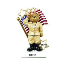 Rudolph & Me Army Bear Personalized Ornament #RM184
