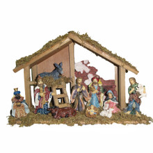 "Kurt Adler 15"" Wooden Stable with 10 Resin Figures Nativity Set"