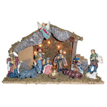 "Kurt Adler 15.35"" Lighted Wooden Stable with 11 Resin Figures Nativity Set"