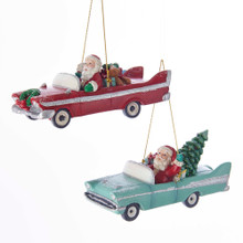 Kurt Adler Mid Century Santa Retro Car Ornament #C7664