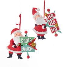 Kurt Adler Mid Century Santa with Sign Ornament #T2301