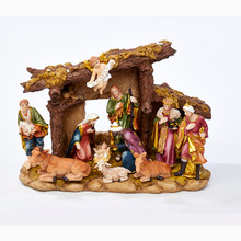 Kurt Adler 11- Piece Nativity Figures Set with Stable #N0296