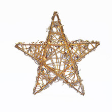 Kurt Adler 20-Light Gold Rattan Christmas Treetop Star