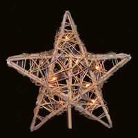 Kurt Adler 10-Light Rattan Natural Christmas Star Treetop UL1219/NAT