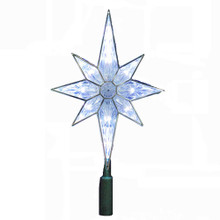 "Kurt Adler 10-Light 10.5"" Clear LED 8-Point Christmas Star Treetop UL1875C"