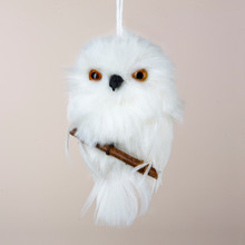 Kurt Adler White Hanging Owl w/ Branch # C2220