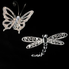 Kurt Adler Silver Butterfly Dragonfly Ornaments W20269