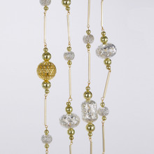 Kurt Adler Silver & Gold Metal Beads Garland #C6670