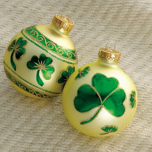 Kurt Adler Shamrock and Center Band Design Ornament, set of 4 #GG0219