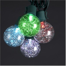 Kurt Adler 10-L G40 Silver Tinsel Balls LED Light Set UL1180