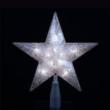 Kurt Adler 10-Light 5-Point Silver Glitter Star Treetop # UL1985S