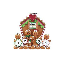 Rudolph and Me Family of 4 Gingerbread House Personalized #TT110-4