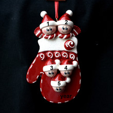 Rudolph & Me Mitten Family of 5 Personalized Ornament # 901-5