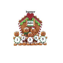 Rudolph and Me Family of 5 Gingerbread House Personalized #TT110-5