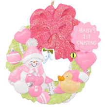 Rudolph and Me Baby Girl Wreath Personalized Ornament #42G