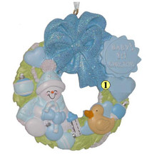Rudolph and Me Baby Boy Wreath Personalized Ornament #42B