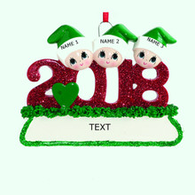 Rudolph & Me 2018 Family of 3 Personalized Ornament #1403-3
