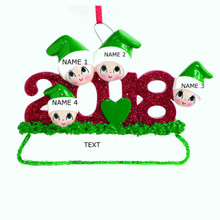 Rudolph & Me 2018 Family of 4 Personalized Ornament #1403-4