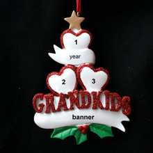 Rudolph & Me 3 Grandkid Hearts Personalized Ornament # 1-3