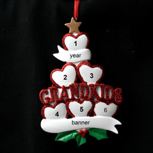 Rudolph & Me 6 Grandkid Hearts Personalized Ornament # 1-6