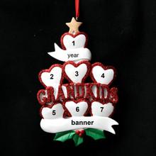 Rudolph & Me 7 Grandkid Hearts Personalized Ornament # 1-7