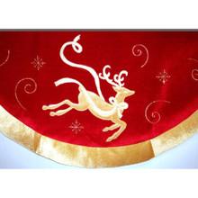 Velvet Tree Skirt with Gold Reindeer Design