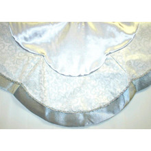 Silver and White Tree Skirt with Flitter Swirl Design