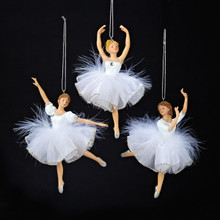 Kurt Adler 6in White/Silver Ballet Ornament, 3 Assorted #C8545