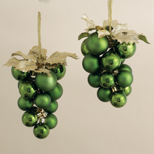 "Kurt Adler 8"" Olive Green Shaterproof Grape Cluster, 2 Pieces #PL0213OL"