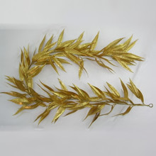 "Gold Glitter Long Leaf Eucalyptus 60"" Garland #MTX44706"