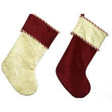 Burgundy and Gold Stocking with Glitter Swirl Design, 2 Assorted