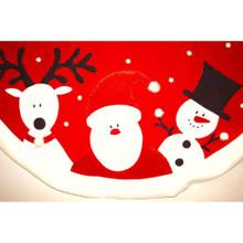 Velvet Santa, Snowman & Reindeer Tree Skirt