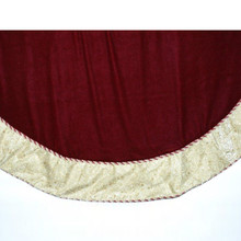 Burgundy Tree Skirt with Gold Glitter Design Border