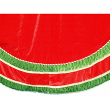 "56"" Red Velvet Elegant Pleated Tree Skirt with Braid"