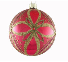 Red with Gold Decorated Glass Ball Ornament, 4Pack