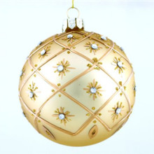 Gold Glitter Starburst Mouth Blown Glass Ball Ornaments, 4pack