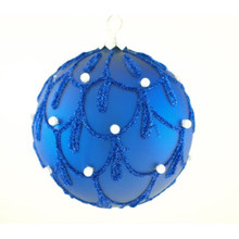 Blue Pearl Glitter Mouth Blown Glass Ball Ornament, 4Pack