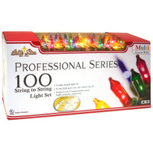 100-Light Professional Series Mini Light Set Multi Bulbs & Green Wire