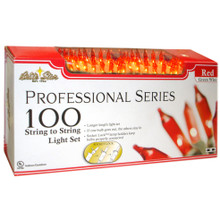 100-Light Professional Series Mini Light Set Red Bulbs & Green Wire