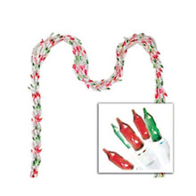600-Light High Density Straight Line Garland Red & Green, White Wire