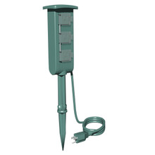 3-Outlet Mini Ground Stake 6ft Cord 12 In. Stake -Green