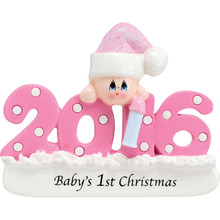 Rudolph & Me 2017 Baby-Pink Personalized Ornament #1421G