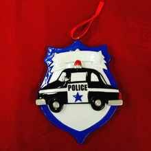 Rudolph & Me Police Emblem Personalized Ornament #HH196