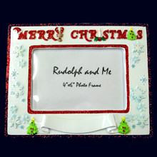 Rudolph and Me Merry Christmas Banner Personalized Frame #F-MCB