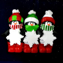 Rudolph and Me Penguin Snowflake Family of 3 Personalized  #TT575-3