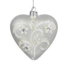 Kurt Adler 4in Silver & White Glass Heart Ornament #C4609