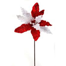 Red & White Glitter Sequin Ball Poinsettia Stem #MTX51473