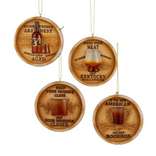 Kurt Adler Bourbon Branded Barrel Lid Ornament, 4 Assorted #C8871