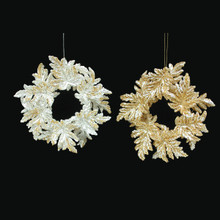 Kurt Adler Gold or Silver Acrylic Wreath Ornaments, 2 Assorted #W5270